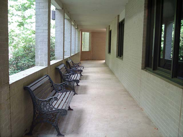 Covered patio and seating area