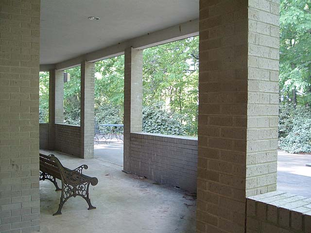 View of patio and seating from south side